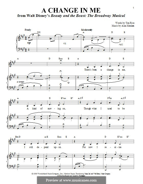 A Change in Me (from Beauty and the Beast: The Broadway Musical): Para vocais e piano by Alan Menken