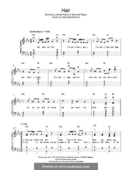 Hair (from Hair): Para Piano by Galt MacDermot