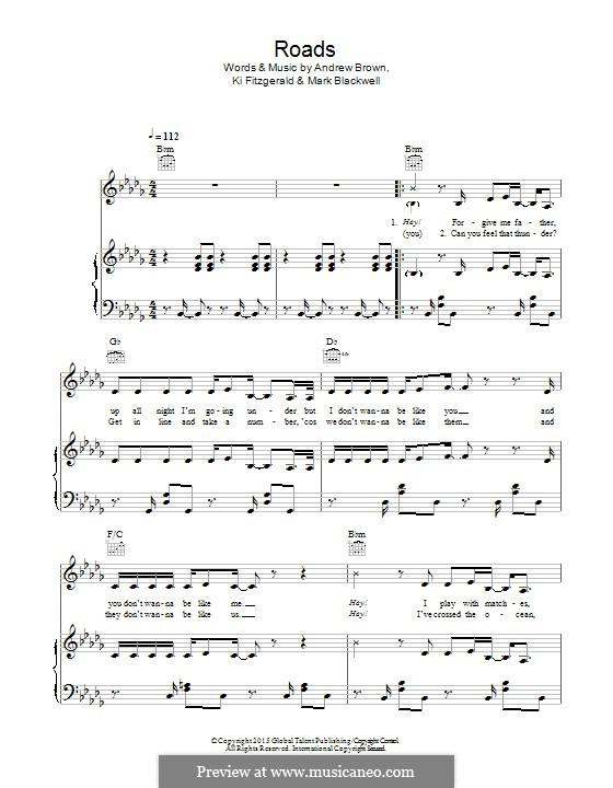 Roads (Lawson): Para vocais e piano (ou Guitarra) by Andrew Brown, Ki Fitzgerald, Mark Blackwell
