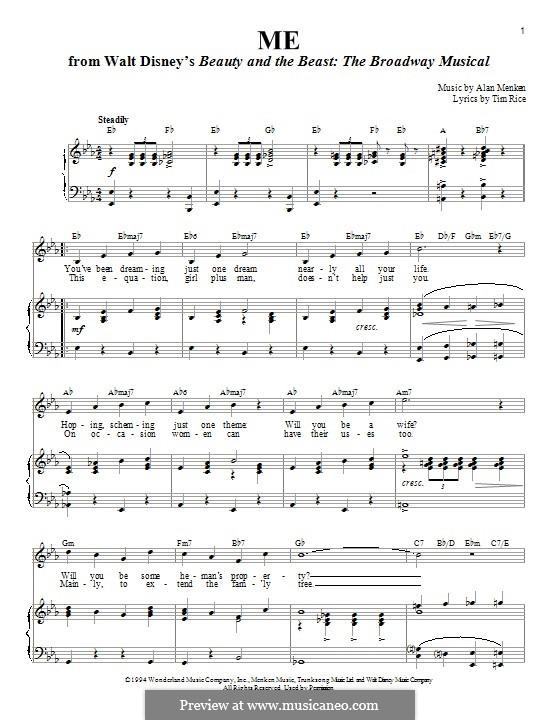 Me: Para vocais e piano by Alan Menken