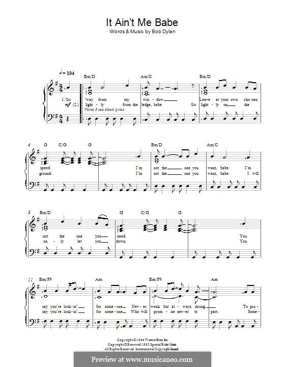 It Ain't Me Babe: Para vocais e piano by Bob Dylan