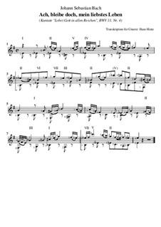 Lobet Gott in seinen Reichen, BWV 11: Nr.11 Ach, bleibe doch, mein liebstes Leben, für Gitarre by Johann Sebastian Bach