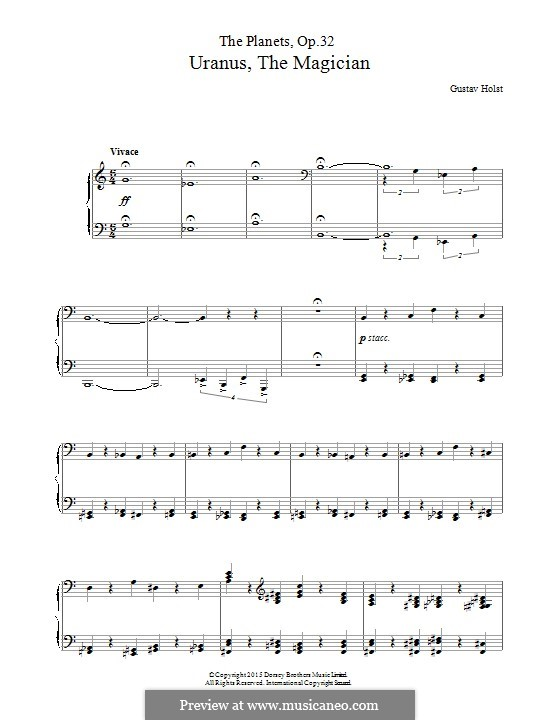 Uranus, the Magician: Para Piano by Gustav Holst