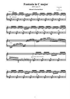 Fantasia in C major for piano, BWV Anh.87: Fantasia in C major for piano by Johann Sebastian Bach