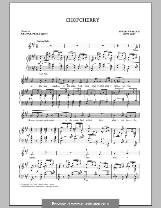 Chopcherry: Para vocais e piano by Peter Warlock