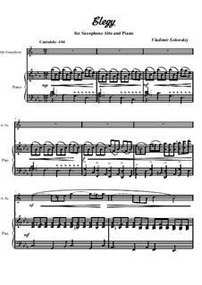 A collection of works for alto saxophone and piano 'The fabulous world music': No.8 Elegy by Vladimir Solonskiy