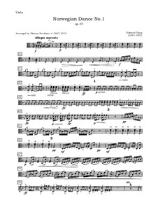Four Norwegian Dances, Op.35: Arrangement for oboe, violin, viola and cello – viola part by Edvard Grieg