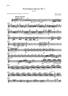 Four Norwegian Dances, Op.35: Arrangement for oboe, violin, viola and cello – oboe part by Edvard Grieg