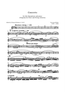 Concerto for Oboe and Strings: Version for alto saxophone and piano – saxophone part by Vincenzo Bellini