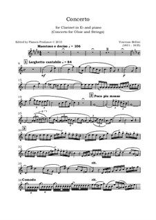 Concerto for Oboe and Strings: Version for clarinet in E flat  and piano - clarinet part by Vincenzo Bellini