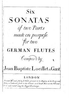 Six Sonatas for Two Flutes, Op.5: set completo by Jean Baptiste Loeillet de Gant
