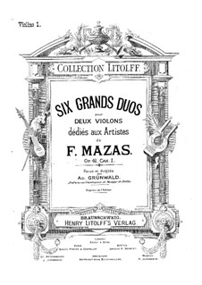 Six Brilliant Duets for Two Violins, Op.41: Six Brilliant Duets for Two Violins by Jacques Féréol Mazas