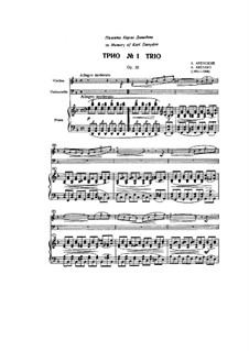 Piano Trio No.1 in D Minor, Op.32: partituras completas, partes by Anton Arensky