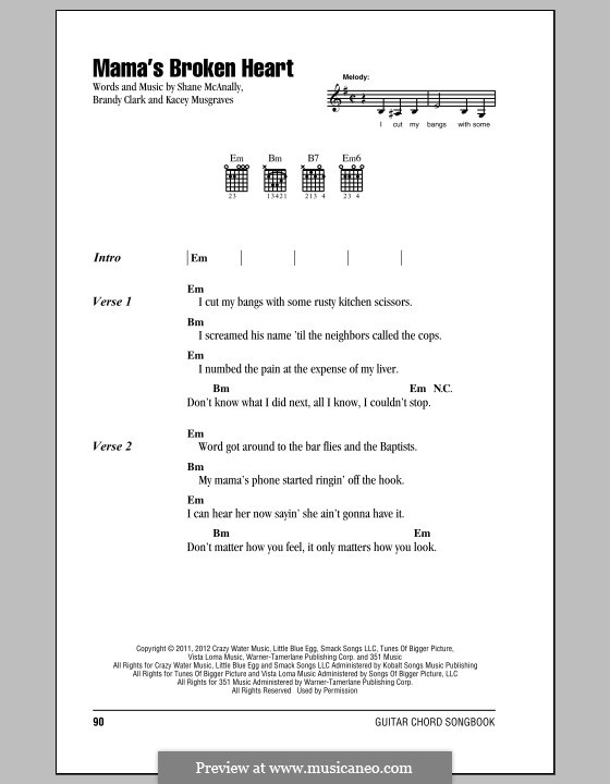 Mama's Broken Heart (Miranda Lambert): Letras e Acordes by Shane McAnally, Brandy Clark, Kacey Musgraves