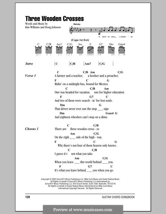 Three Wooden Crosses: Letras e Acordes by Doug Johnson, Kim Williams