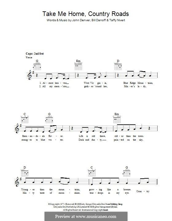 Take Me Home, Country Roads: melodia by Bill Danoff, John Denver, Taffy Nivert