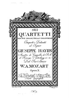 Six String Quartets: partes by Wolfgang Amadeus Mozart