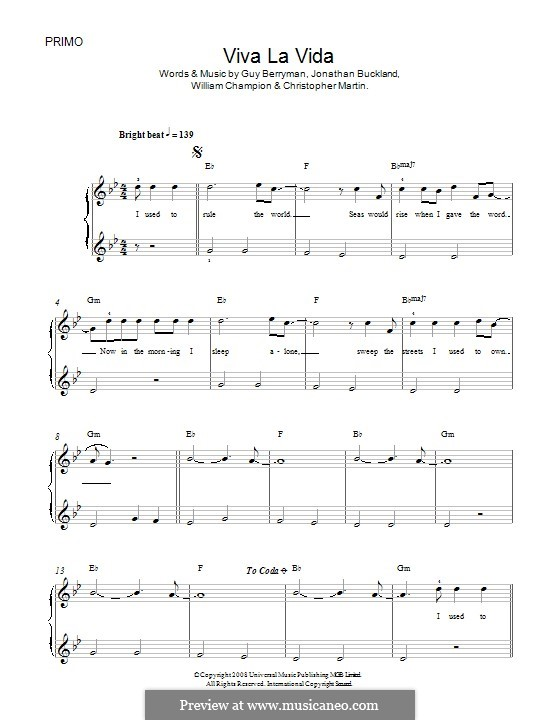 Piano version: For four hands by Chris Martin, Guy Berryman, Jonny Buckland, Will Champion