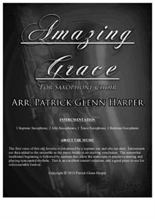 Amazing Grace: For saxophone ensemble by folklore
