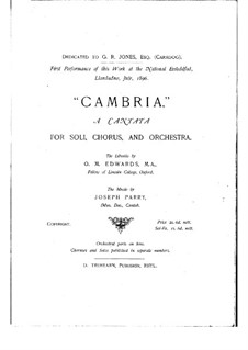 Cambria: Arrangement for voices, choir and piano by Joseph Parry