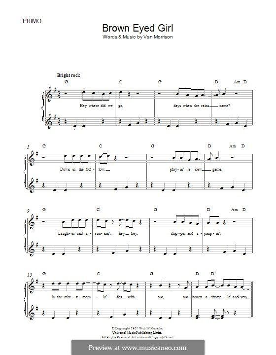 Brown Eyed Girl: Para Piano by Van Morrison