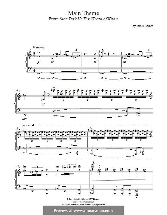 Star Trek II: The Wrath of Khan: Para Piano by James Horner