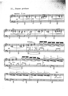 Two Dances for Harp and String Quintet, L.103: No.2 Danse profane, for Piano by Claude Debussy