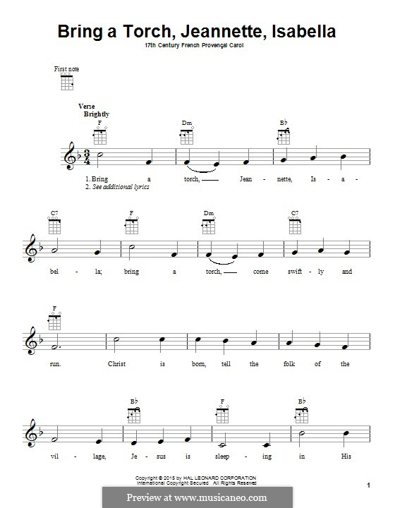 Bring a Torch, Jeannette Isabella: para ukulele by folklore