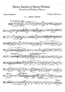 Two Dances for Harp and String Quintet, L.103: parte violoncelo by Claude Debussy