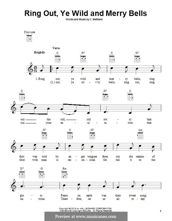Ring Out, Ye Wild and Merry Bells: para ukulele by C. Maitland