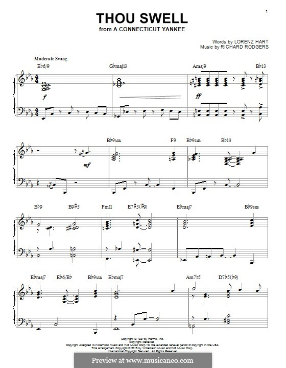 Thou Swell: Para Piano by Richard Rodgers