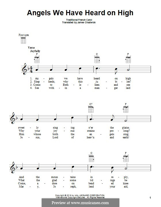 Angels We Have Heard on High: para ukulele by folklore