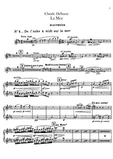 La mer (The Sea), L.109: Oboe and cor anglais parts by Claude Debussy