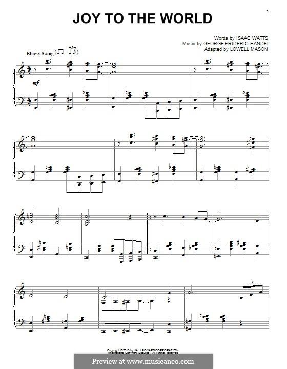 Joy to the World, for Piano: para um único musico (Editado por H. Bulow) by Georg Friedrich Händel
