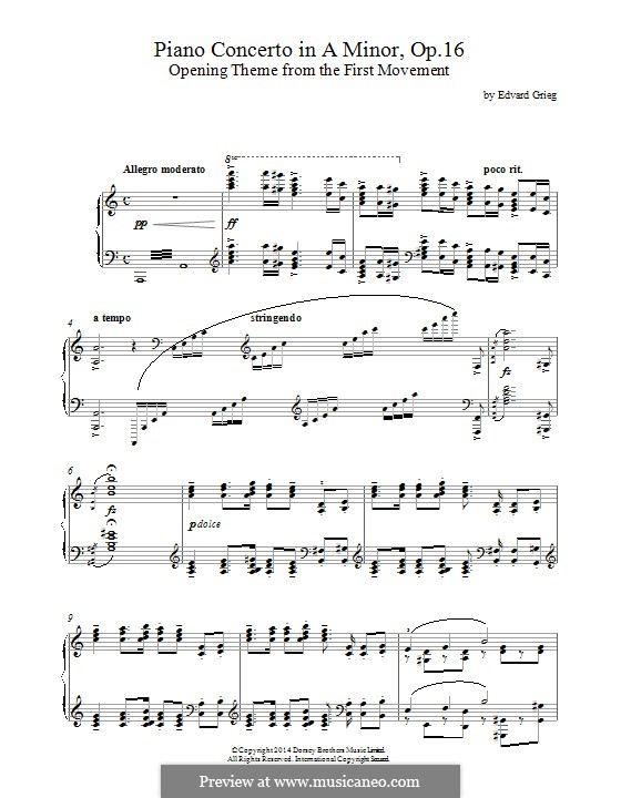Piano Concerto in A Minor, Op.16: Opening theme. Version for piano by Edvard Grieg