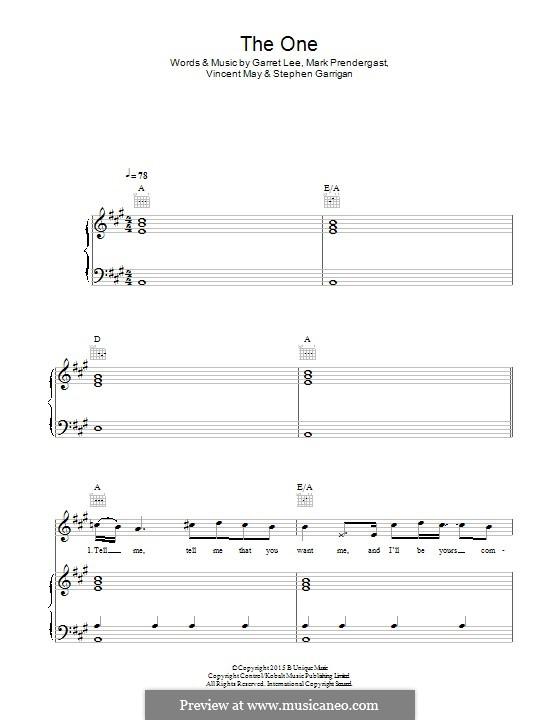 The One (Kodaline): Para vocais e piano (ou Guitarra) by Garret Lee, Mark Prendergast, Stephen Garrigan, Vincent May