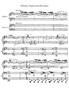 Prélude à l'après-midi d'un faune (Prelude to the Afternoon of a Faun), L.86: arranjos para dois pianos de quatro mãos by Claude Debussy
