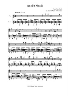 An die Musik (To Music), D.547 Op.88 No.4: para flauta e guitarra by Franz Schubert