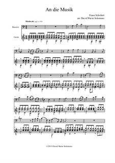 An die Musik (To Music), D.547 Op.88 No.4: For bassoon and guitar by Franz Schubert