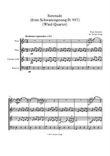No.4 Ständchen (Serenade): Para quarteto de sopro by Franz Schubert