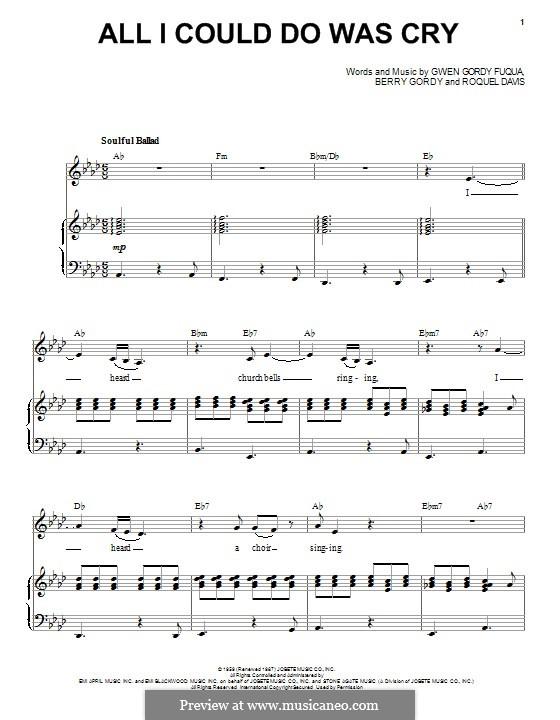All I Could Do Was Cry (Etta James): Para vocais e piano by Berry Gordy, Gwen Gordy Fuqua, Roquel Davis