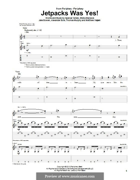 Jetpacks Was Yes! (Periphery): Para guitarra com guia by Jake Bowen, Matthew Halpern, Misha Mansoor, Spencer Sotelo, Alexander Bois, Thomas Murphy