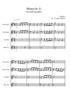 No.4 Minuet in G Major, BWV Anh.114: For orff ensemble by Johann Sebastian Bach