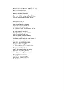 No.2 Wer nie sein Brot mit Tränen ass: para clarinete e piano by Franz Schubert