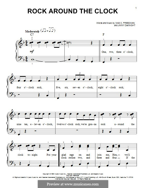 Rock Around the Clock (Bill Haley and His Comets): For easy piano with lyrics by Jimmy DeKnight, Max C. Freedman