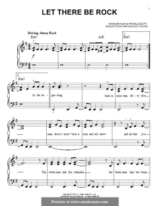 Let There Be Rock (AC/DC): Para Piano by Angus Young, Bon Scott, Malcolm Young