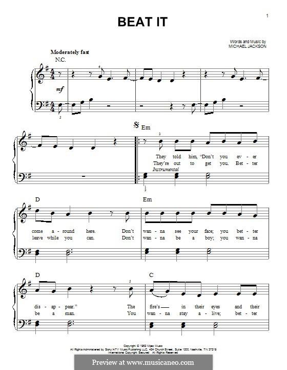 Beat It: Para Piano by Michael Jackson