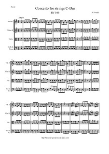 Concerto for Strings in C Major, RV 109: Score and parts by Antonio Vivaldi