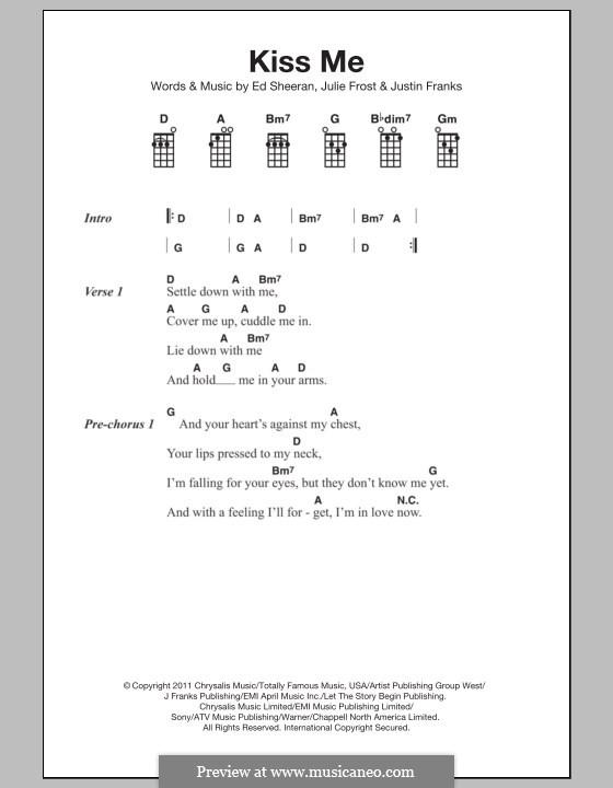 Kiss Me: para ukulele by Ed Sheeran, Julie Frost, Justin Franks