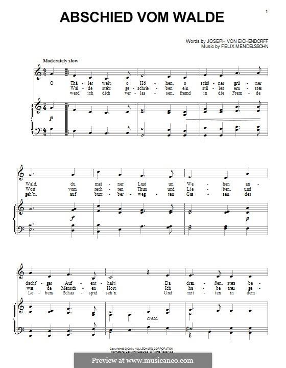 Felix Mendelssohn: Abschied Vom Walde: Para vocais e piano (ou Guitarra) by Felix Mendelssohn-Bartholdy